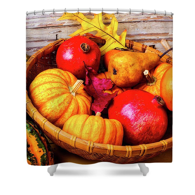 Basket Shower Curtain featuring the photograph Basket Full Of Autumn by Garry Gay