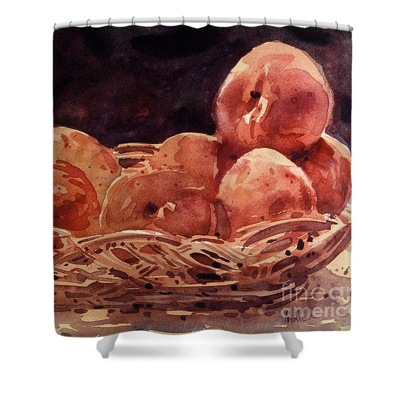 Peaches Shower Curtain featuring the painting Basket Of Peaches by Donald Maier