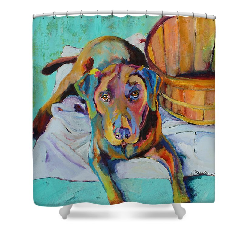 Chocolate Lab Shower Curtain featuring the painting Basket Retriever by Pat Saunders-White