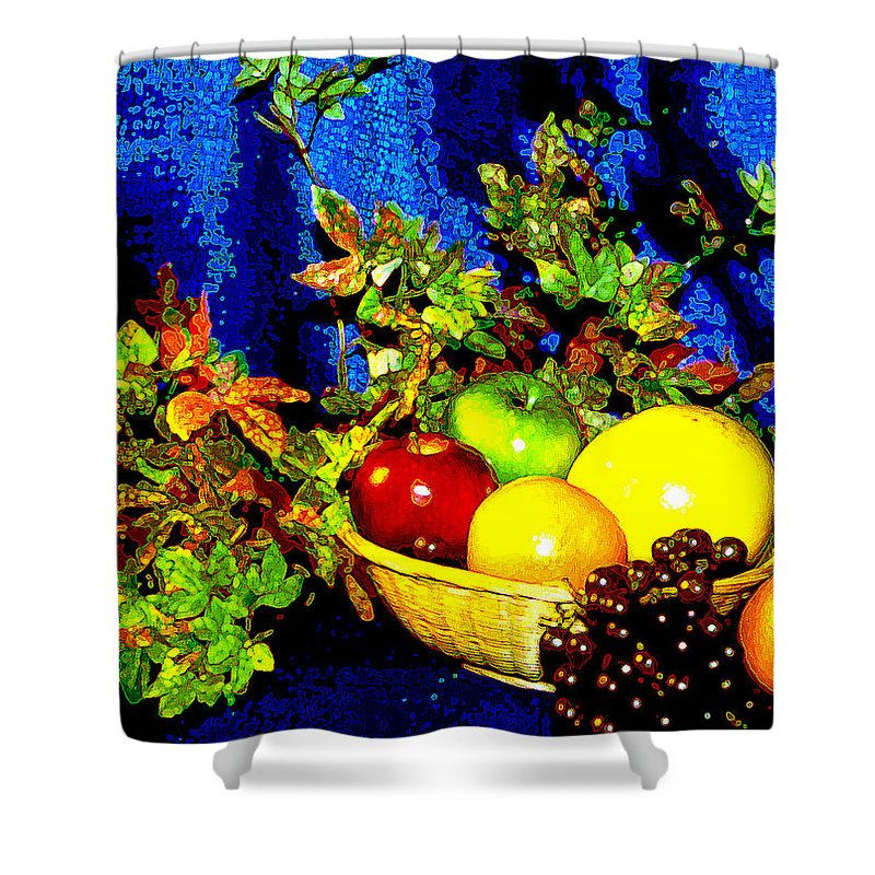 Fruit Shower Curtain featuring the photograph Basket With Fruit by Nancy Mueller