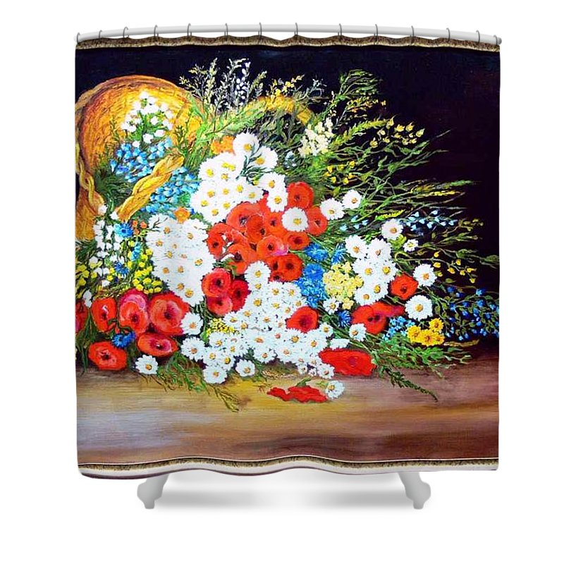 Summer Shower Curtain featuring the painting Basket With Summer Flowers by Helmut Rottler