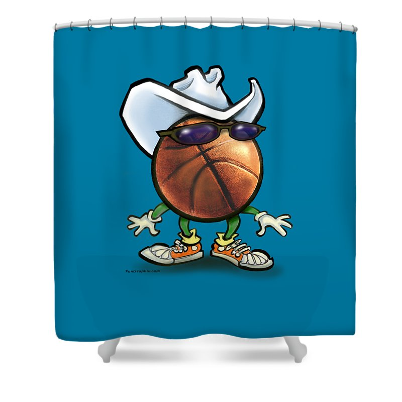 Basketball Shower Curtain featuring the digital art Basketball Cowboy by Kevin Middleton