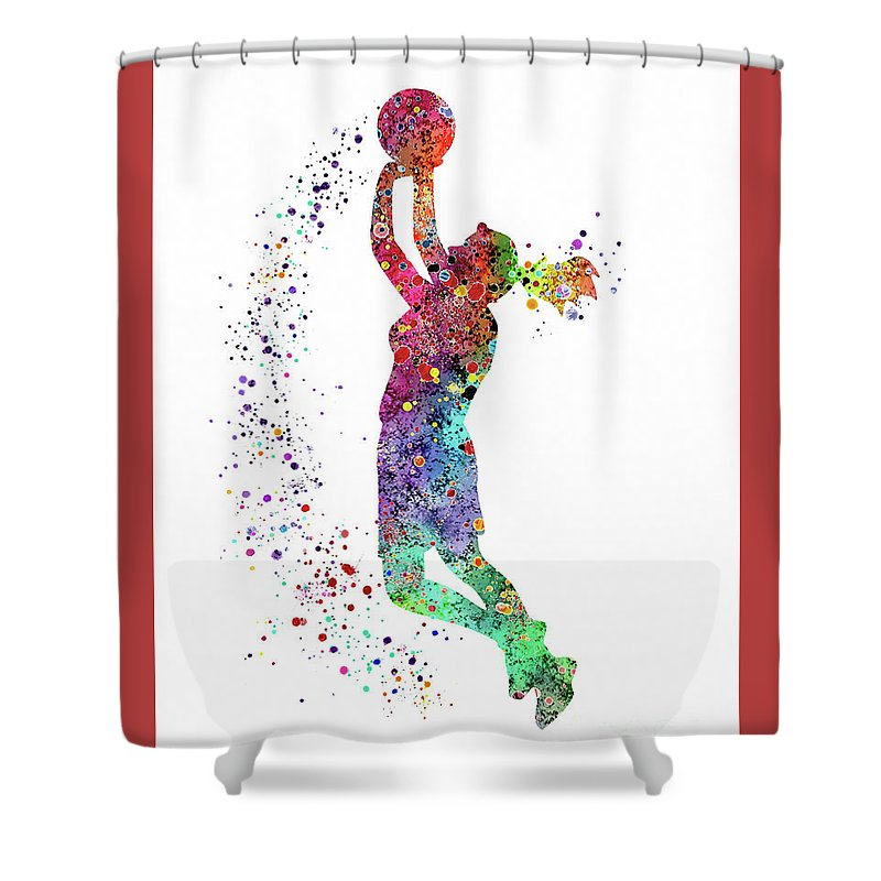 Basketball Girl Player Sports Art Print Shower Curtain For Sale By Svetla Tancheva