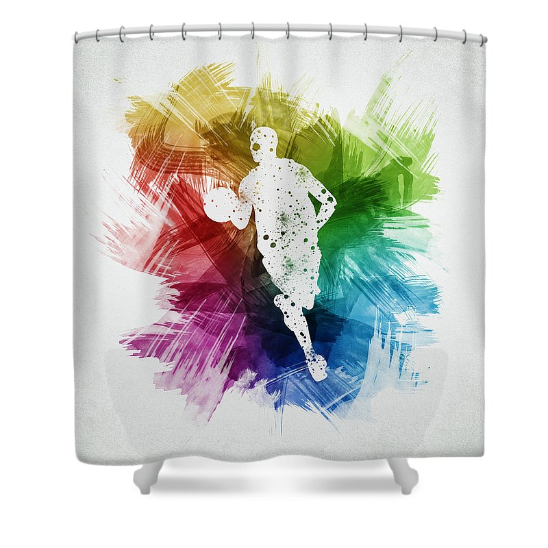 Basketball Shower Curtain Featuring The Digital Art Player 17 By Aged Pixel