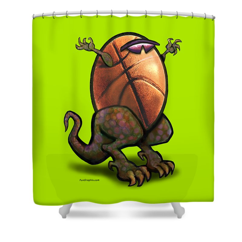 Basketball Shower Curtain featuring the digital art Basketball Saurus Rex by Kevin Middleton