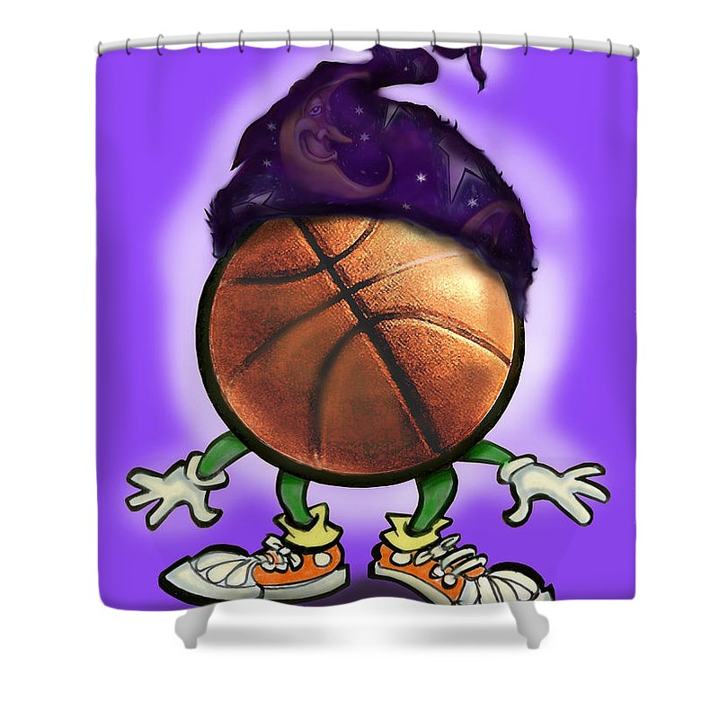 Basketball Shower Curtain featuring the greeting card Basketball Wizard by Kevin Middleton