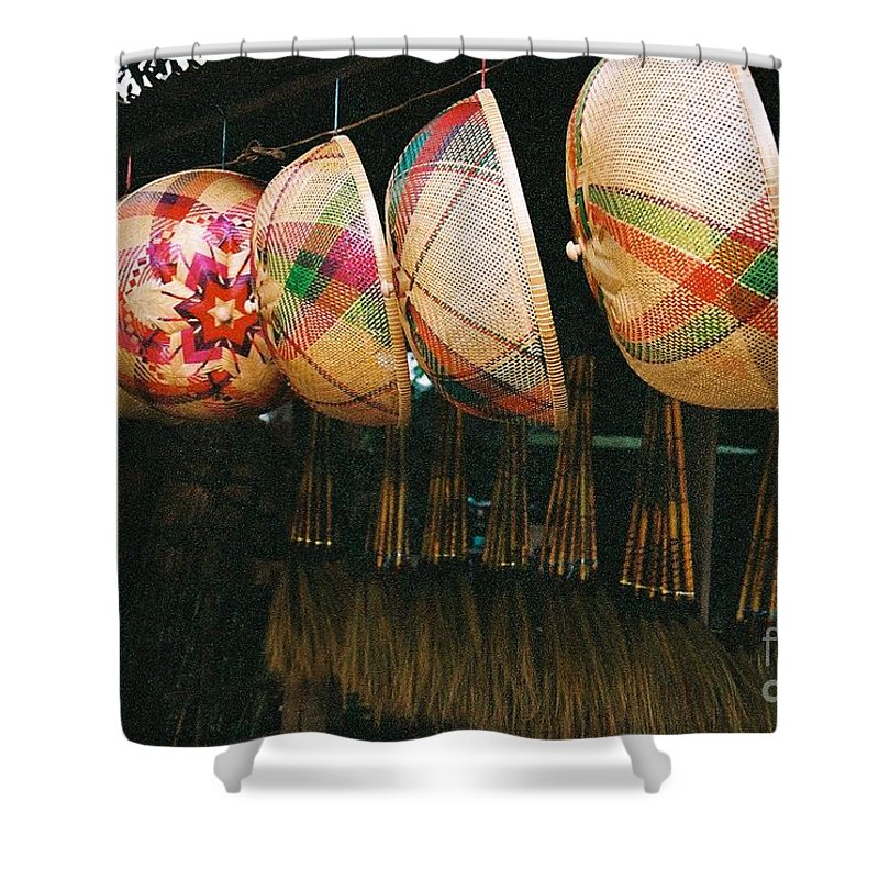 Baskets Shower Curtain featuring the photograph Baskets And Brooms by Mary Rogers