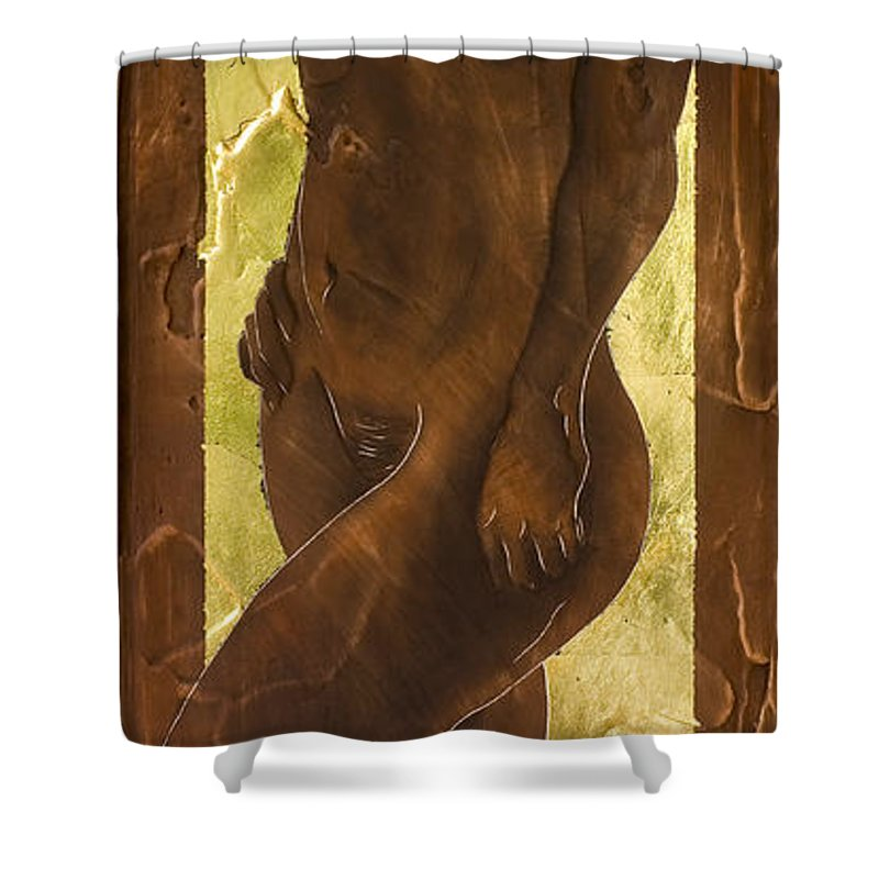 Nude Shower Curtain featuring the painting Basking In The Glow by Richard Hoedl
