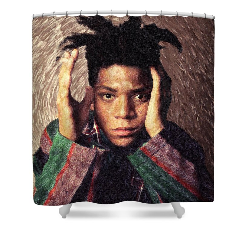 Jean Michel Basquiat Shower Curtain Featuring The Painting By Zapista