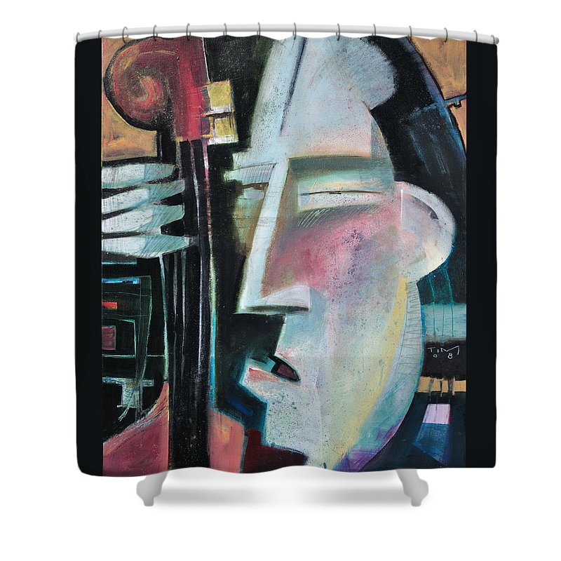 Jazz Shower Curtain featuring the painting Bass Face by Tim Nyberg