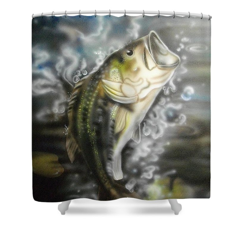 Fish Shower Curtain Featuring The Painting Bass Jumpin By Scott Easom