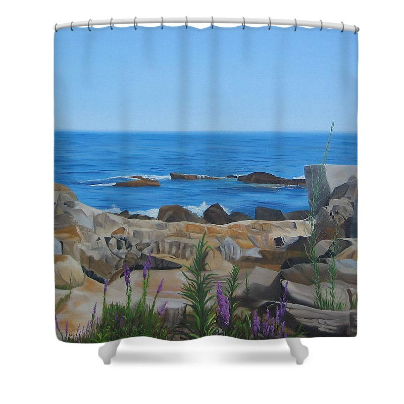 Seascape Shower Curtain featuring the painting Bass Rocks Gloucester by Lea Novak