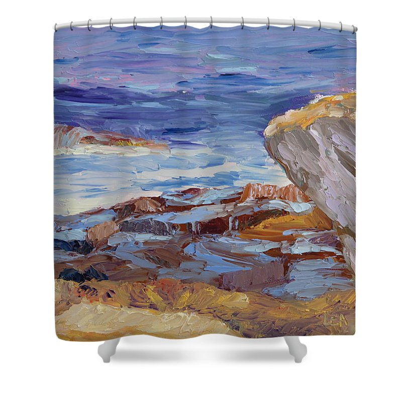 Seascape Painting Shower Curtain featuring the painting Bass Rocks by Lea Novak