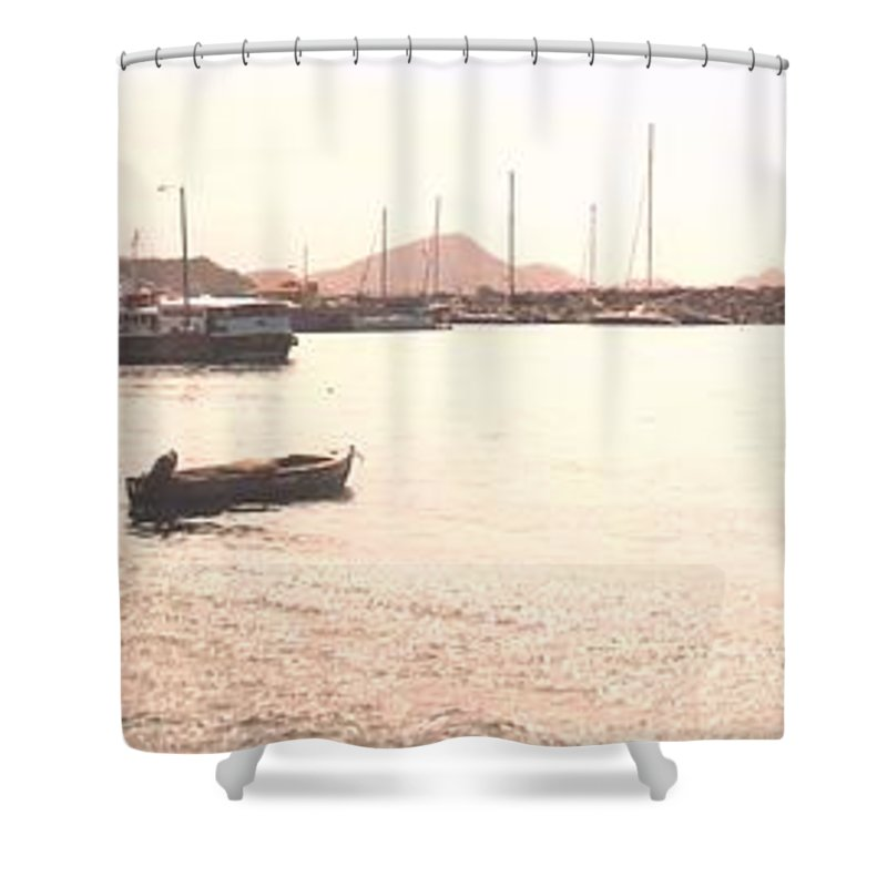 St Kitts Shower Curtain featuring the photograph Basseterre Harbour by Ian MacDonald
