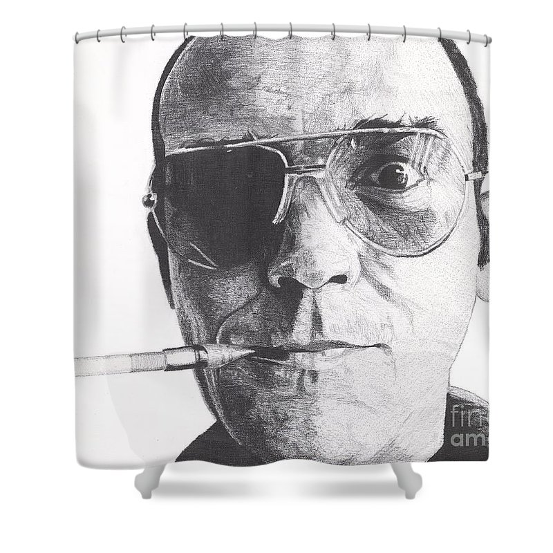 Hunter S Thompson Shower Curtain featuring the drawing Bat Country by Jeff Ridlen