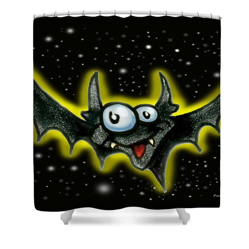 Bat Shower Curtain featuring the greeting card Bat by Kevin Middleton