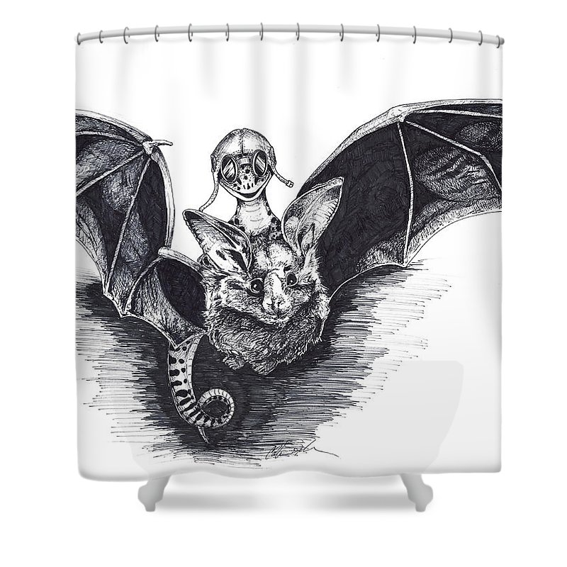 Bat Shower Curtain featuring the drawing Bat Mobile by Colleen Stiles
