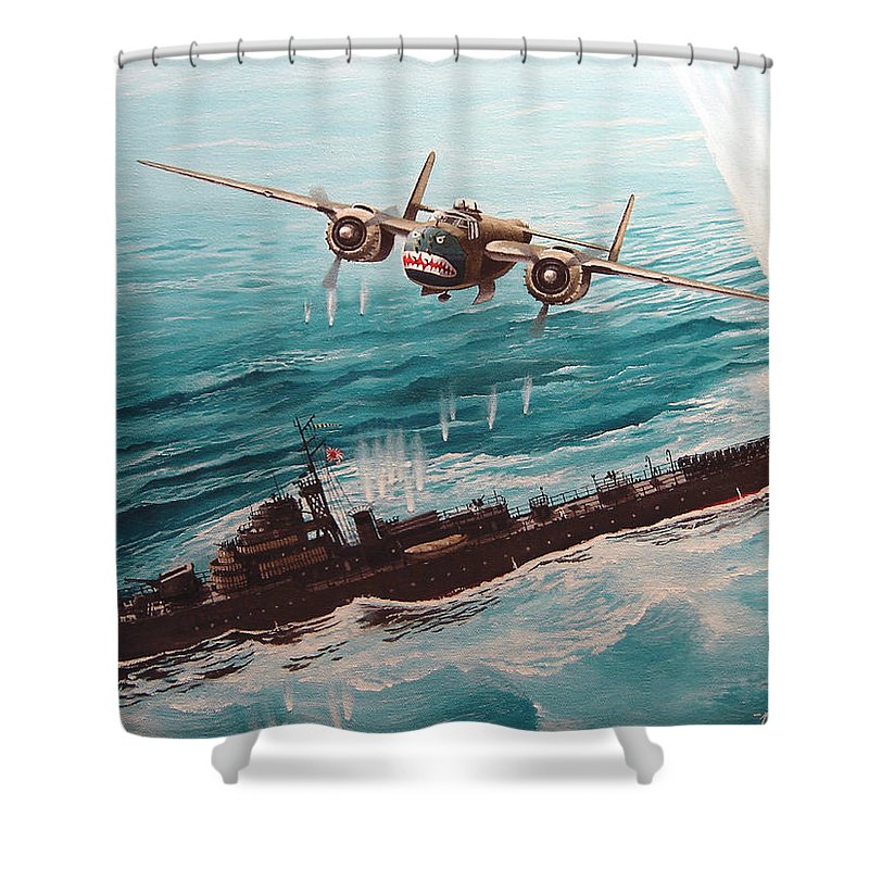 Military Shower Curtain featuring the painting Bat Outta Hell by Marc Stewart