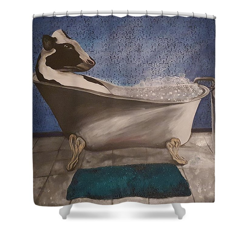Cow Shower Curtain featuring the painting Bath Time by Ami Brown
