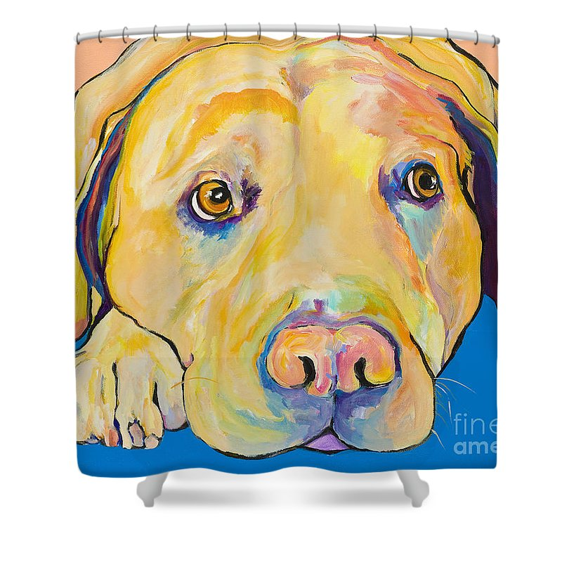 Dog Paintings Yellow Lab Puppy Colorful Animals Pets Shower Curtain featuring the painting Bath Time by Pat Saunders-White