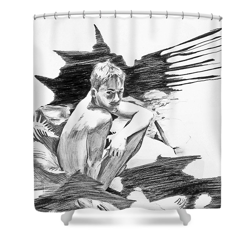 White Light Shower Curtain featuring the drawing Bathed In White Light by Rene Capone