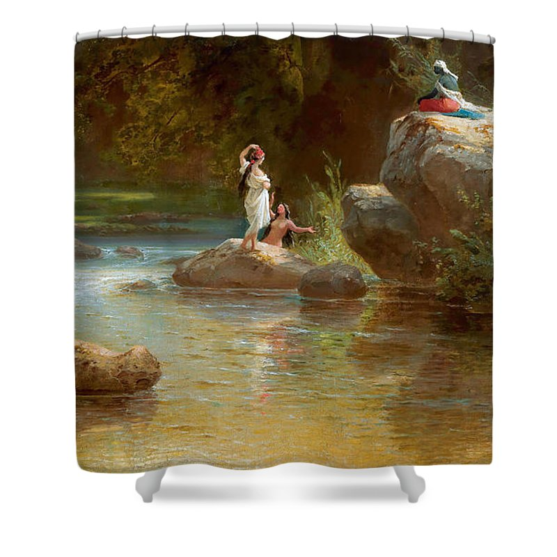Ferdinand Konrad Bellermann Shower Curtain featuring the painting Bathers At The River. Evening In Orinoco? by Ferdinand Konrad Bellermann