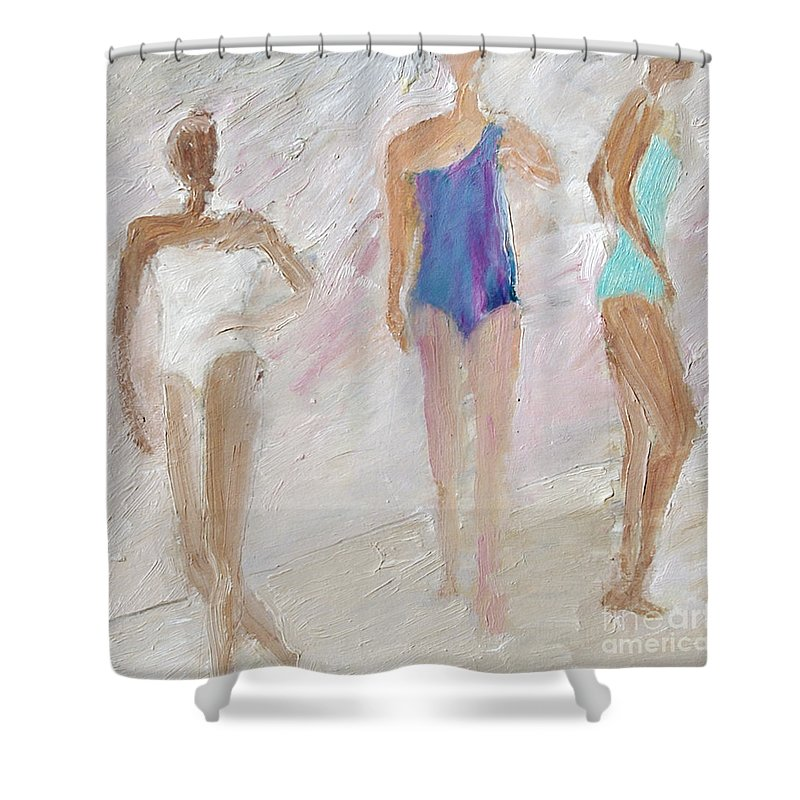Figures Shower Curtain featuring the painting Bathing Beauties by Lisa Baack