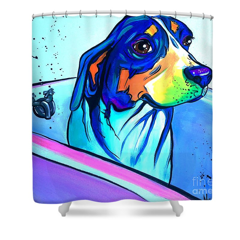 Dog Shower Curtain Featuring The Painting Bathtub Beagle By Abbi Kay