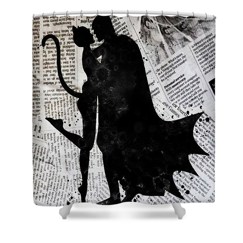 Batman Shower Curtain Featuring The Painting And Catwoman Newspaper By Del Art