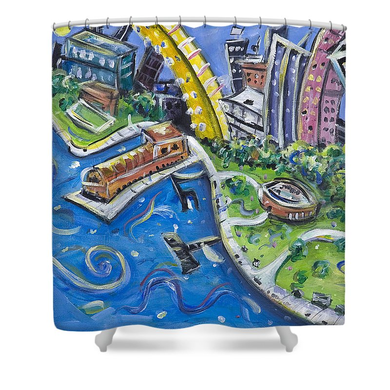 Battery Park New York City Manhattan Wall Street Hudson River Buildings Water Boat South Shower Curtain featuring the painting Battery Park by Jason Gluskin