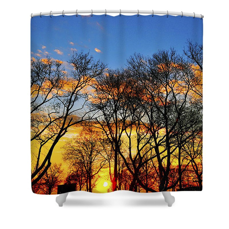 Battery Park Shower Curtain featuring the photograph Battery Park Sunset by Randy Aveille