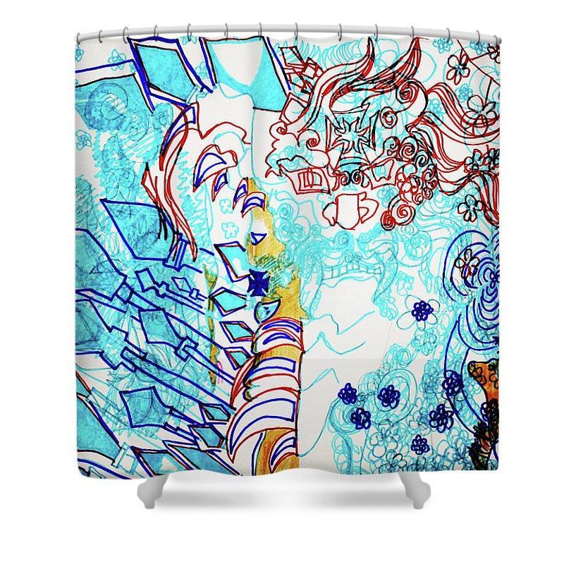 Jesus Shower Curtain featuring the painting Battle For Heaven Ggulu Summons Kaikuzzi To Defeat Walumbe by Gloria Ssali