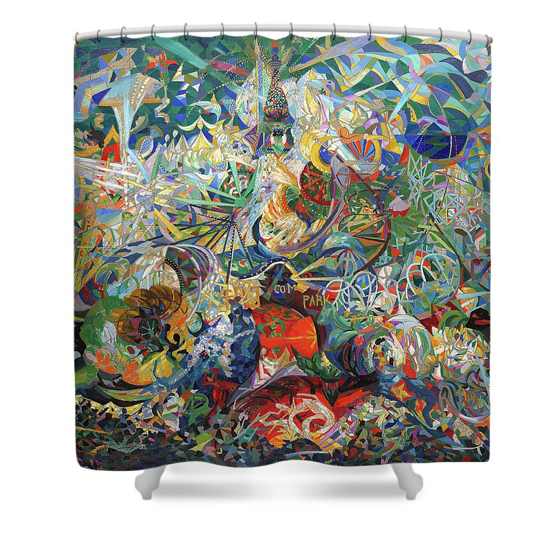 Art Shower Curtain Featuring The Painting Battle Of Lights Coney Island Mardi Gras By