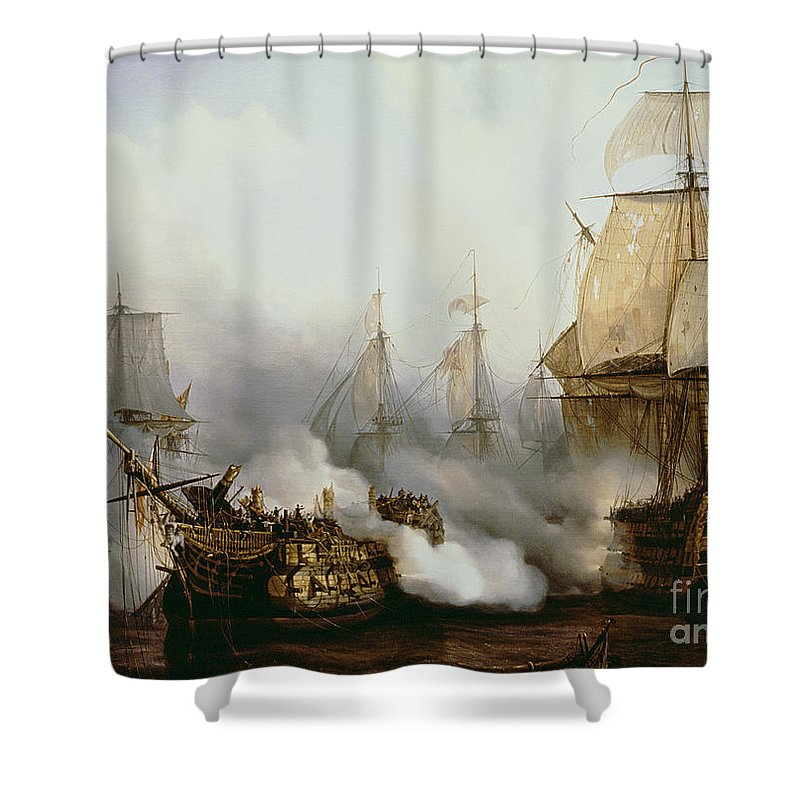 Battle Of Trafalgar By Louis Philippe Crepin Shower Curtain featuring the painting Battle of Trafalgar by Louis Philippe Crepin