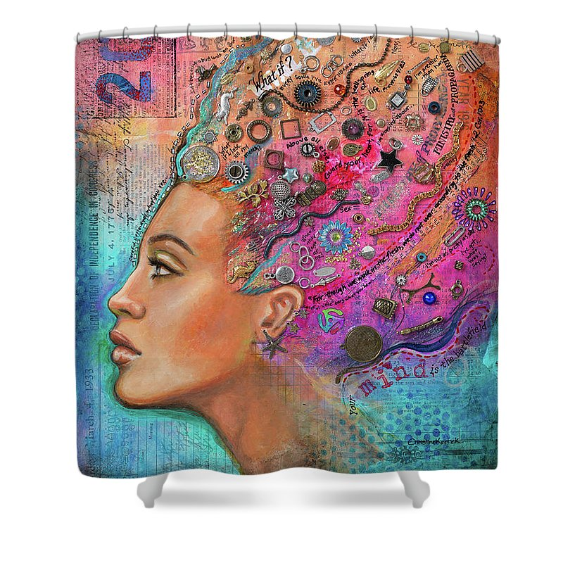 Woman Shower Curtain featuring the mixed media Battlefield Mind 1 by Christine Kerrick