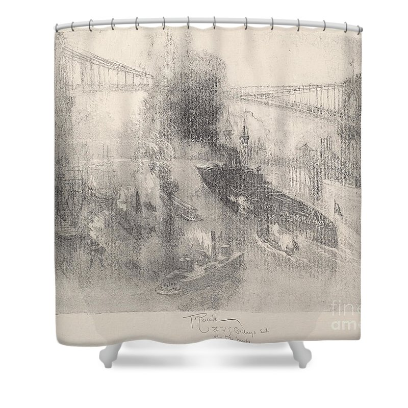 Shower Curtain featuring the drawing Battleship Coming Home by Joseph Pennell