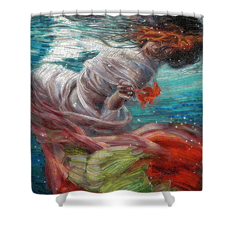 Mermaid Shower Curtain Featuring The Painting Batyam By Mia Tavonatti