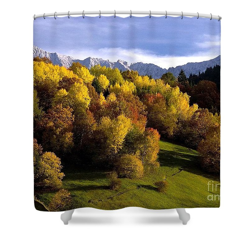 Mountains Shower Curtain featuring the photograph Bavarian Alps 2 by Randy Matthews