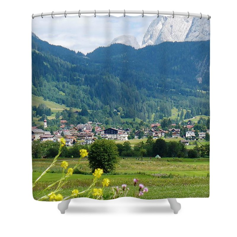 Bavaria Shower Curtain featuring the photograph Bavarian Alps With Village And Flowers by Carol Groenen