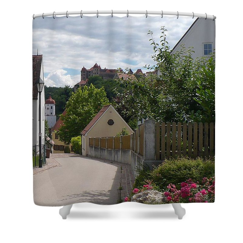 Castle Shower Curtain featuring the photograph Bavarian Village With Castle View by Carol Groenen