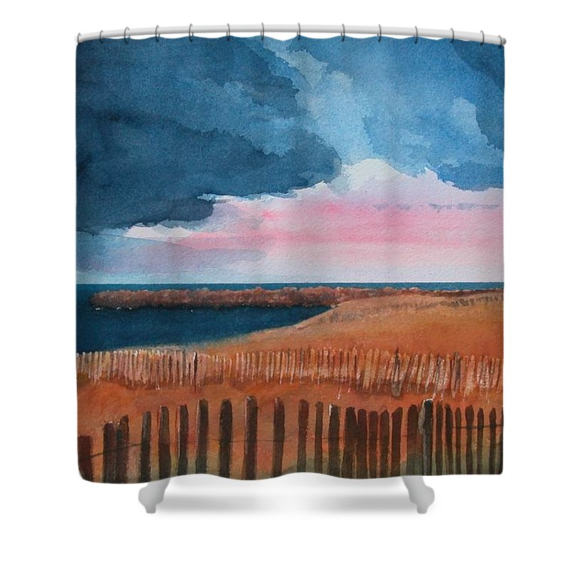 Landscape Shower Curtain featuring the painting Bay Brewing by Pamela French Barber