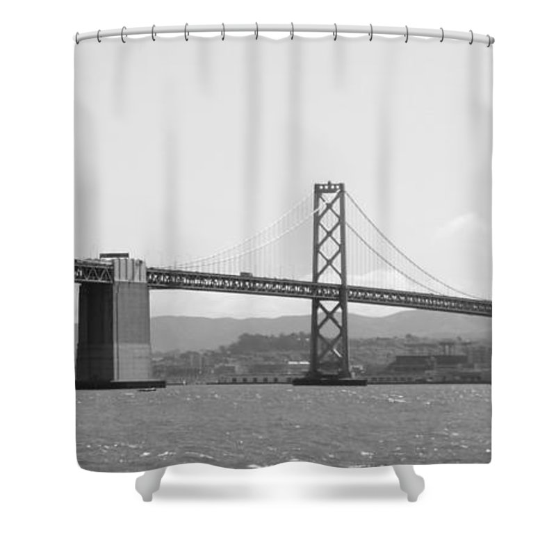 San Francisco Shower Curtain featuring the photograph Bay Bridge In Black And White by Carol Groenen