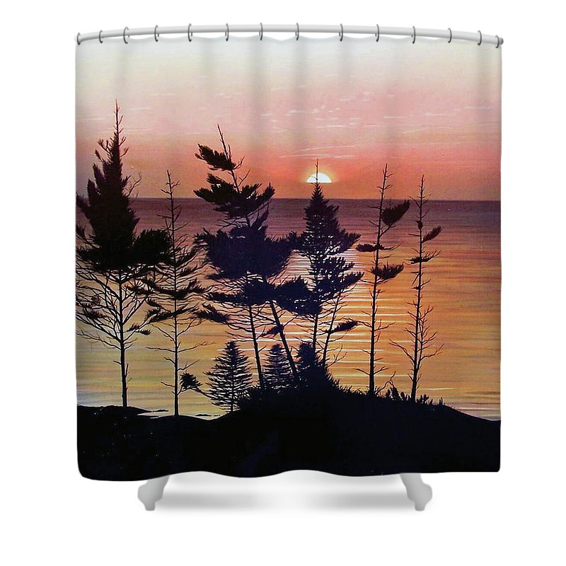 Bay Of Fundy Shower Curtain featuring the painting Bay Of Fundy Sunset by Kenneth M Kirsch