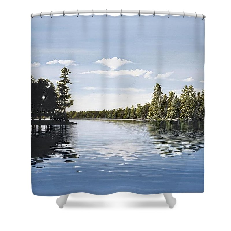 Landscapes Shower Curtain featuring the painting Bay On Lake Muskoka by Kenneth M Kirsch