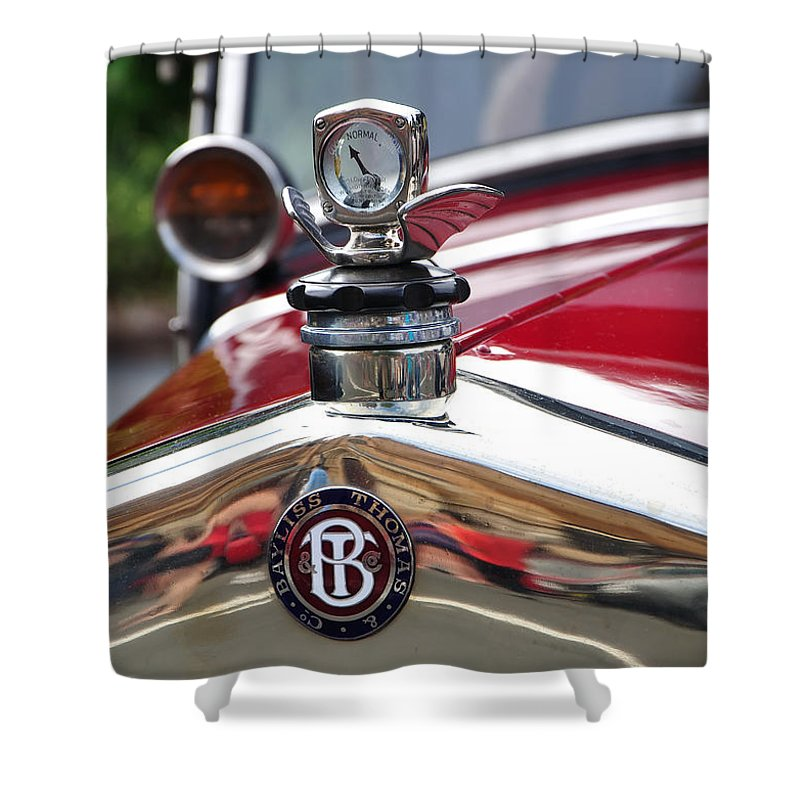 Photography Shower Curtain featuring the photograph Bayliss Thomas Badge And Hood Ornament by Kaye Menner