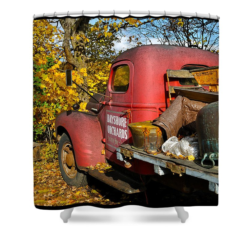 Truck Shower Curtain featuring the photograph Bayshore Orchards by Tim Nyberg