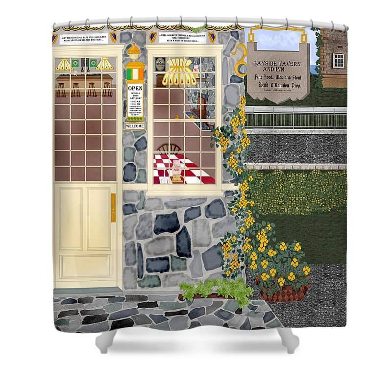Quaint Inn Shower Curtain featuring the painting Bayside Inn And Tavern In Ireland by Anne Norskog