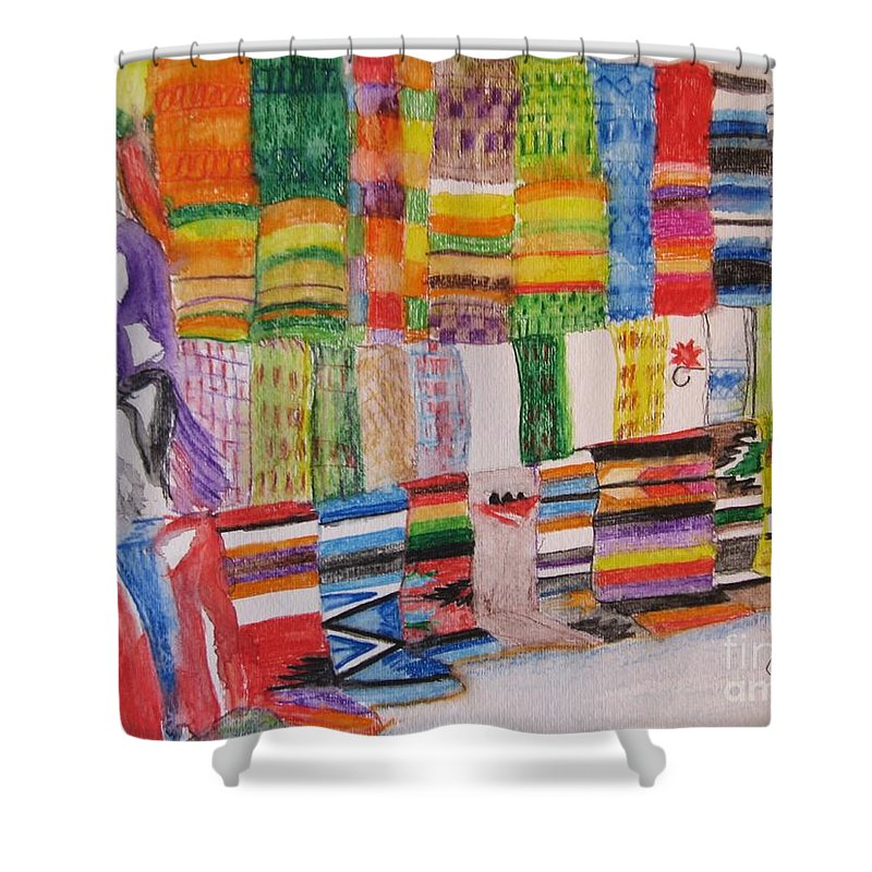Bright Colors Shower Curtain featuring the painting Bazaar Sabado - Gifted by Judith Espinoza
