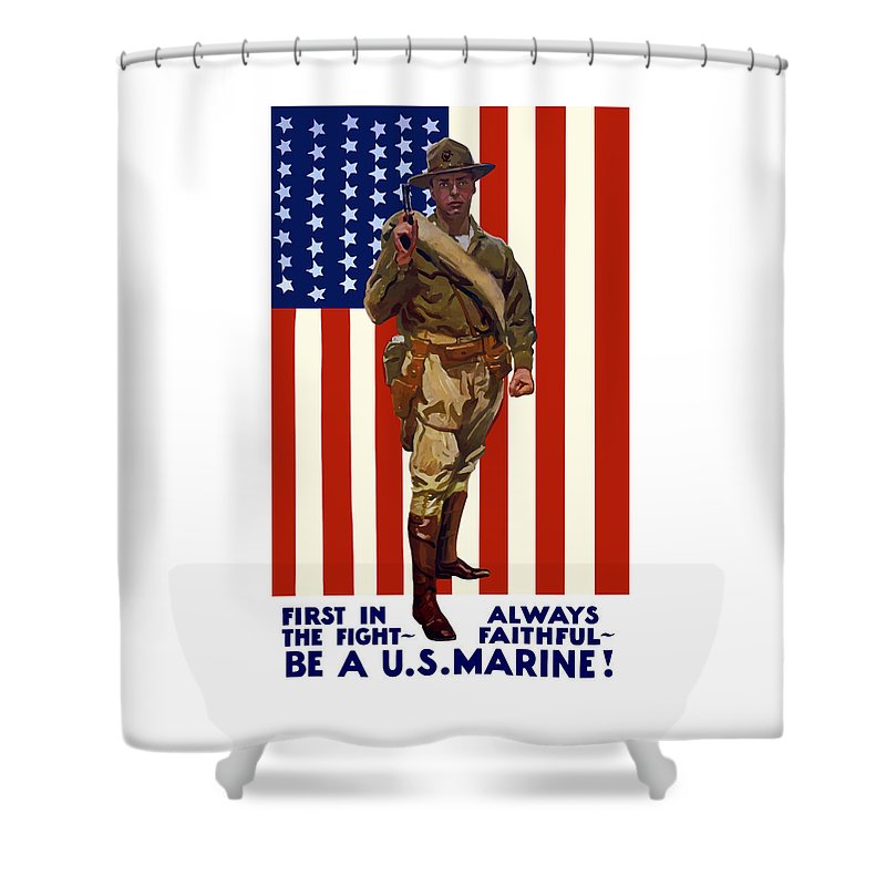 Marine Corps Shower Curtain featuring the painting Be A Us Marine by War Is Hell Store