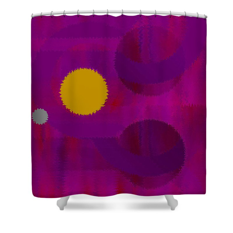 Abstract Shower Curtain featuring the digital art Be Happy by Ruth Palmer